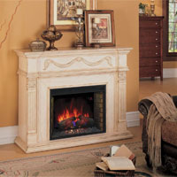 Antique White Gossamer Fireplace in Country Home