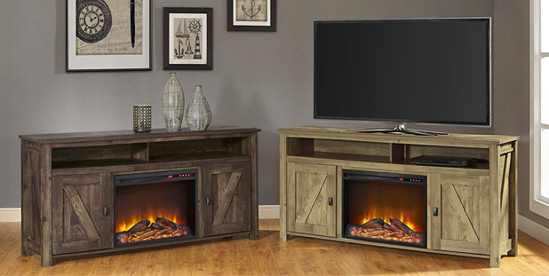 2 Colors of the Barnwood Electric Fireplace TV Console Unit: Heritage Pine and Heritage Light Pine