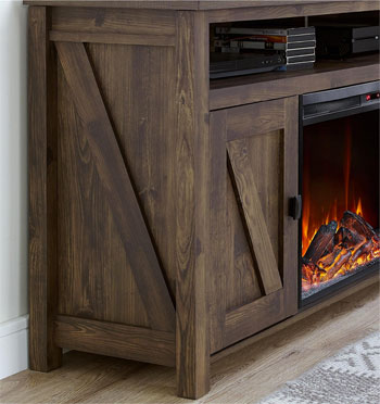 Close up of Faux Wood Grain Finish on Barnwood Electric Fireplace TV Console Unit