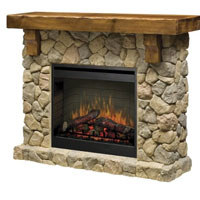 Faux Stone Fireplace with Pine Mantle