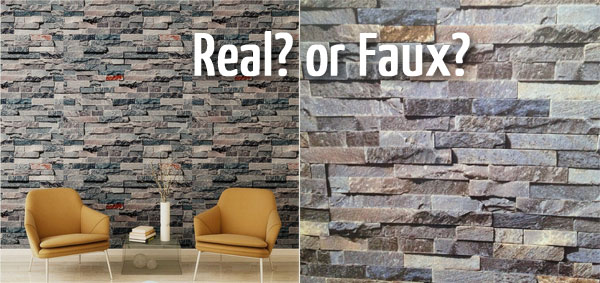 Faux Stone Wallpaper to Use Behind a Fireplace