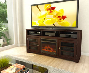 Electric Fireplace Media Console in Family Room