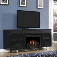 Black Fireplace Media Console with Entertainment Center