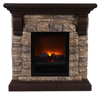 Large Faux Stone Fireplace