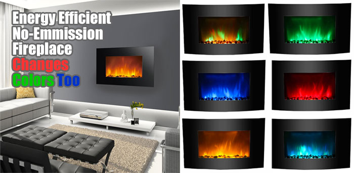 Led Wall Mounted Fireplace Changes Colors