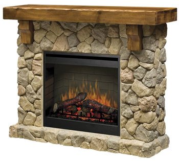 Pine and Stone Electric Fireplace
