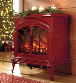 Red Electric Portable Fireplace from Plow & Hearth