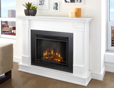 Silverton White Electric Fireplace Against White Wall
