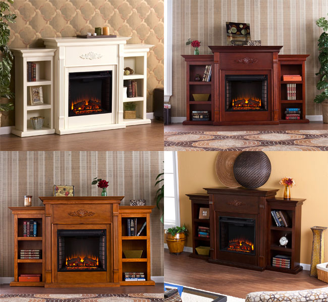 Tennyson Electric Fireplace with Bookcase in 4 Colors