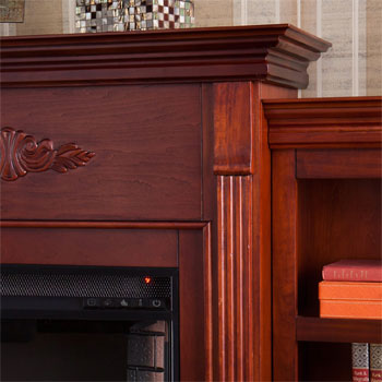 Intricate Molding of the Tennyson Electric Fireplace with Bookcase
