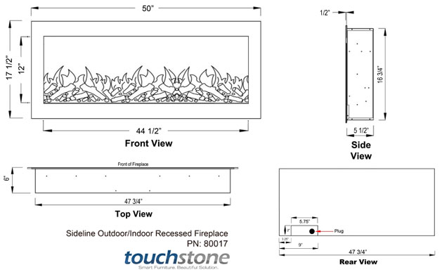 Touchstone 80017 Electric Fireplace Dimensions