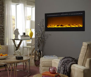 Wall mounted ventless electric fireplace in a living room